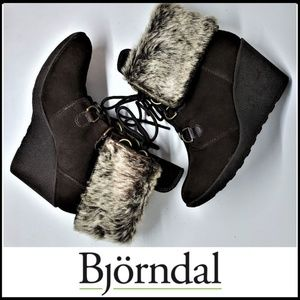 BJORNDAL Suede Lace Up Wedge Faux Fur Cuff Bootie
